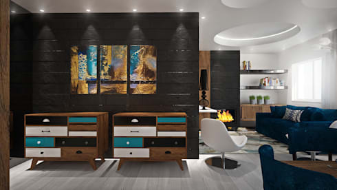 Sala : Salas de estar modernas por Tiago Martins - 3D