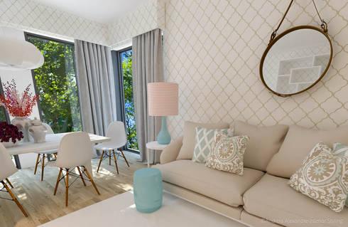 Projeto Decoração Sala - Pantone Colors 2016: Salas de estar ecléticas por Andreia Alexandre Interior Styling