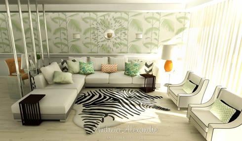 Projecto 3D Decoração Sala: Salas de estar modernas por Andreia Alexandre Interior Styling