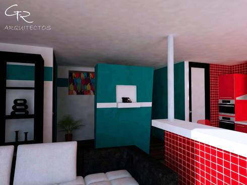 Loft Montecillo 05 : Paredes de estilo  por GT-R Arquitectos