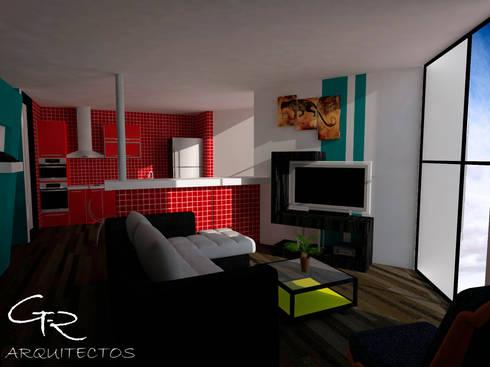 Loft Montecillo 05 : Salas de estilo minimalista por GT-R Arquitectos