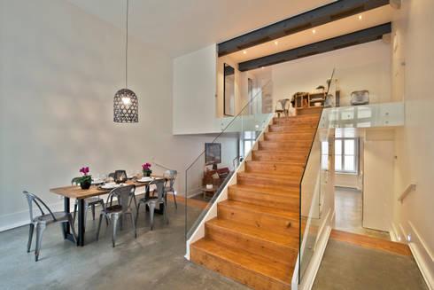 Edifício Gaivotas: Sala de jantar  por Pureza Magalhães, Arquitectura e Design de Interiores