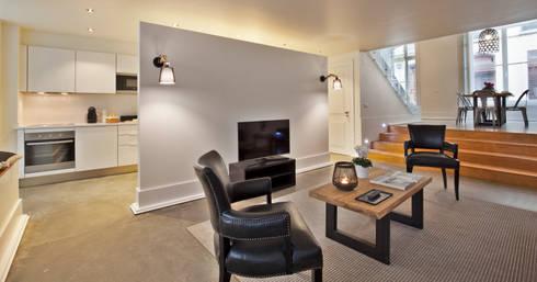 Edifício Gaivotas: Sala de estar  por Pureza Magalhães, Arquitectura e Design de Interiores