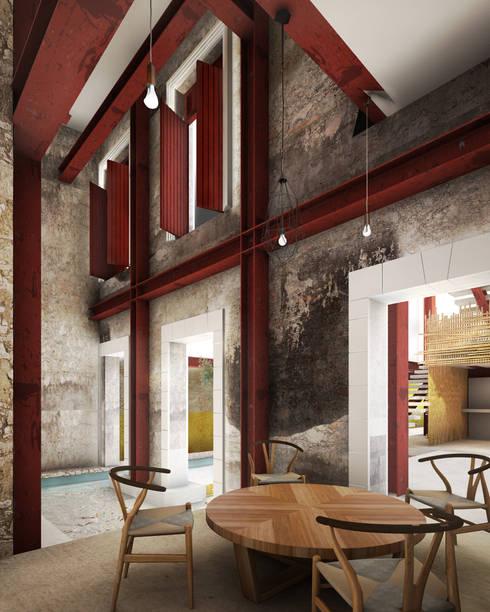 A HOUSE FOR...: Comedores de estilo rústico por mousa / Inspiración Arquitectónica