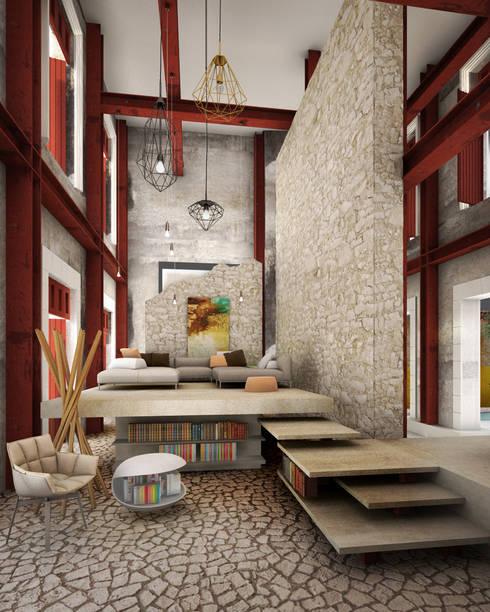 A HOUSE FOR...: Salas de estilo rústico por mousa / Inspiración Arquitectónica