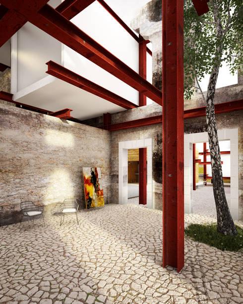 A HOUSE FOR...: Pasillos y recibidores de estilo  por mousa / Inspiración Arquitectónica