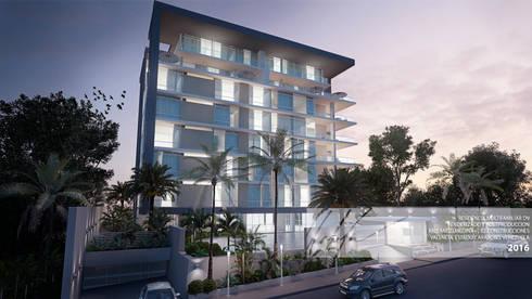 Fachada principal: Casas de estilo minimalista por Arq.AngelMedina+