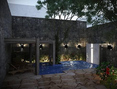 ALBERCA TIPO COLONIAL CON ACABADOS EN MAMPOSTERIA: Albercas de estilo colonial por Ar.Co