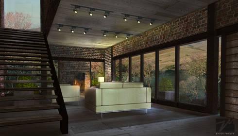 Brick House : Salas de estilo mediterraneo por ZUM ARQUITECTURA