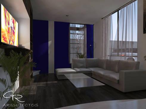 House Jc-1 : Salas de estilo minimalista por GT-R Arquitectos