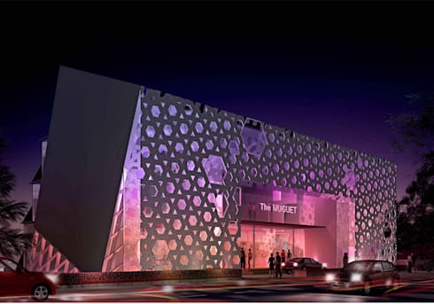 the hotel entrance:  Hotels by Purple Architecture