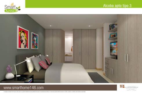Habitacion: Habitaciones de estilo moderno por AP Construcciones S.A.