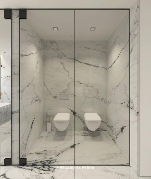 3D Visualization of the project - Statuario Venato: Casas de banho modernas por Mercado da Pedra