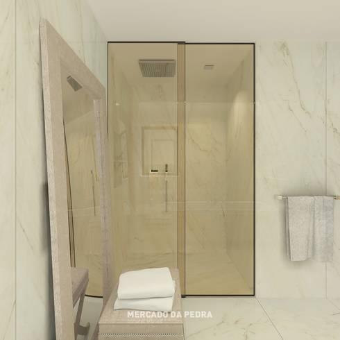 3D Visualization of the project - Bianco Rafaello: Casas de banho modernas por Mercado da Pedra