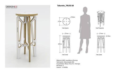 Taburete TRUSS_60: Salas/Recibidores de estilo industrial por DESIGNIO | Fab Studio