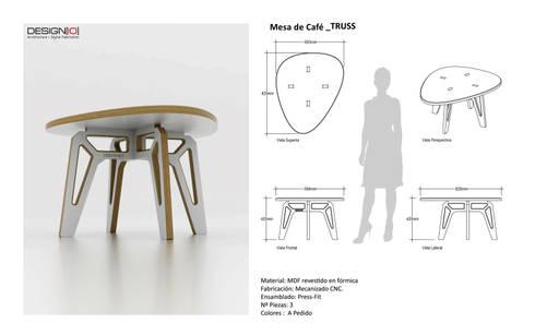 Mesa TRUSS: Salas/Recibidores de estilo industrial por DESIGNIO | Fab Studio