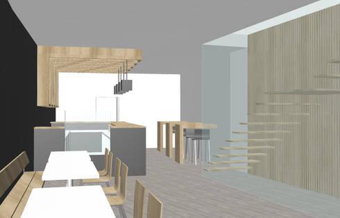 Decoração interior de um Café restaurante: Espaços comerciais  por Marilia Pinto, Arquitetura Engenharia & Construção