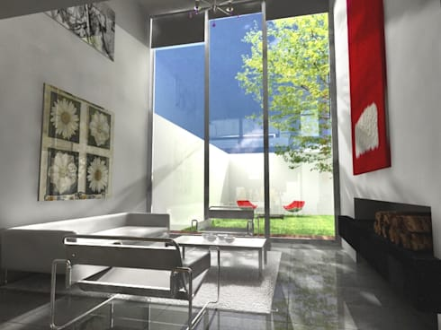 CaSA LINDA VISTA Design Process: Salas de estilo moderno por CoRREA Arquitectos
