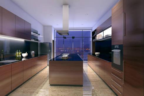 HYDE PARK TOWER,  BIBBEWADI, PUNE: modern Kitchen by Chaney Architects