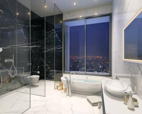 HYDE PARK TOWER,  BIBBEWADI, PUNE: modern Bathroom by Chaney Architects