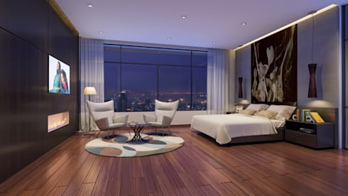 HYDE PARK TOWER,  BIBBEWADI, PUNE: modern Bedroom by Chaney Architects