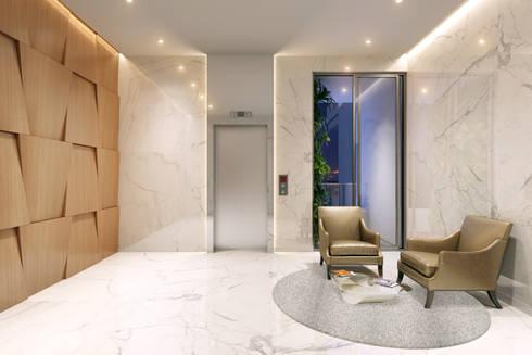 HYDE PARK TOWER,  BIBBEWADI, PUNE:  Corridor & hallway by Chaney Architects