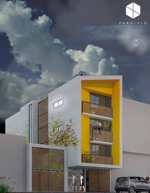 fachada noche:  de estilo  por paralelocolectivo de arquitectos
