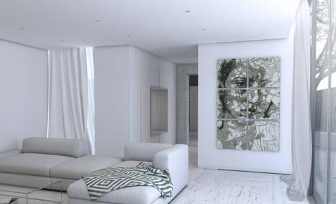 Vista para a zona de leitura entre a sala de estar e cozinha: Salas de estar minimalistas por Varq.