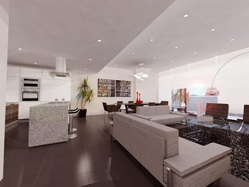 Cenit 2: Salas de estilo moderno por ARCO Arquitectura Contemporánea