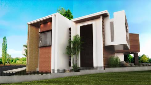 FACHADA SUR: Casas de estilo moderno por PROYECTARQ   ARQUITECTOS