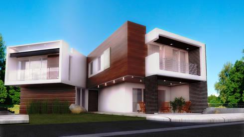 ELEGANCIA EN EL ACCESO: Casas de estilo moderno por PROYECTARQ   ARQUITECTOS