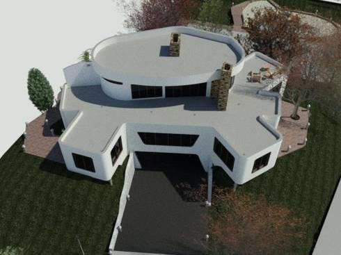 Perspectiva Militar de la fachada frontal de la vivienda.: Casas de estilo minimalista por Bioarke Construcciones C.A.