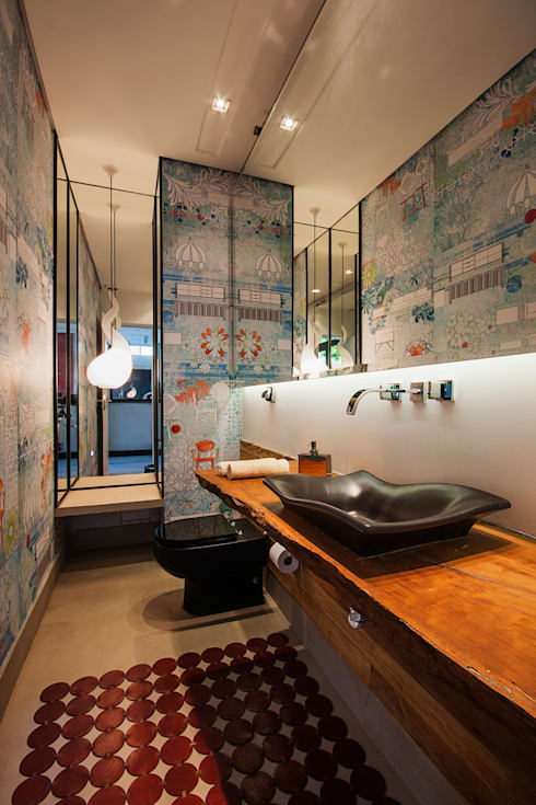 Projeto Alto de Pinheiros - SP: Banheiros modernos por Alice Martins Flávio Butti
