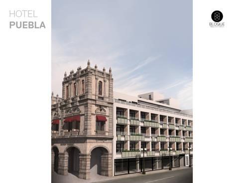 Fachada Hotel Puebla: Hoteles de estilo  por Bloque Arquitectónico