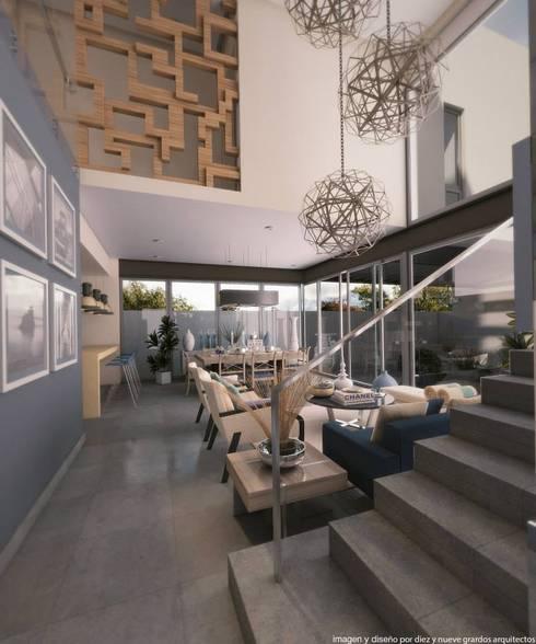 Sala: Salas de estilo moderno por Diez y Nueve Grados Arquitectos