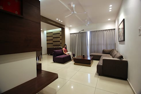 atman and helees flat: asian Living room by studio 7 designs