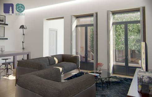 Rua de Santo Ildefonso, Porto: Salas de estar modernas por PortoBaixa, lda
