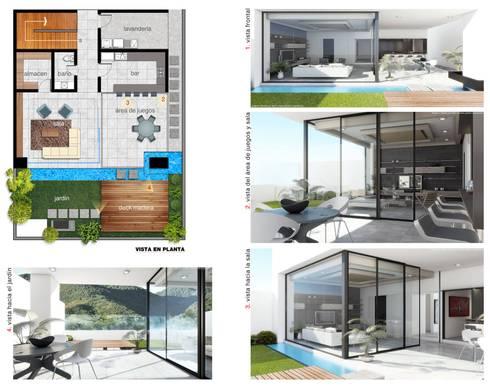 Vista en planta:  de estilo  por Diez y Nueve Grados Arquitectos