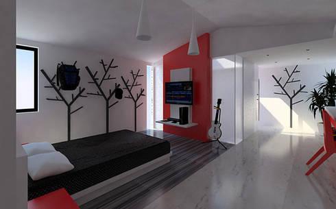 Casa Córdoba : Recámaras de estilo moderno por BCA taller de diseño