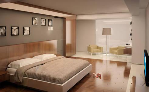 Casa PG: Recámaras de estilo moderno por BCA taller de diseño