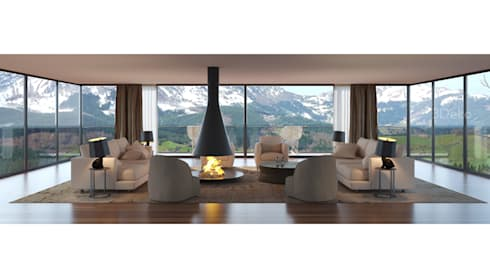 Sala de estar en la montaña: Salas de estilo moderno por 3Deko