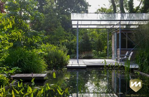 Moderne tuin met zwemvijver en poolhouse von van mierlo tuinen