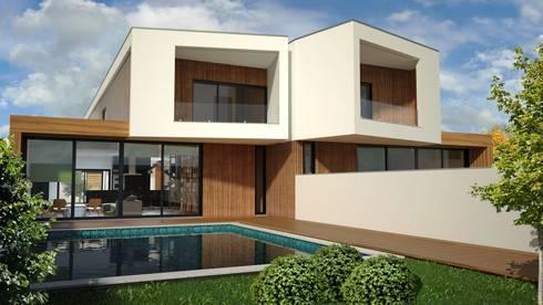 Zona de lazer exterior: Casas modernas por PROJETARQ
