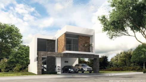 Perspectiva fachada principal:  de estilo  por Diez y Nueve Grados Arquitectos
