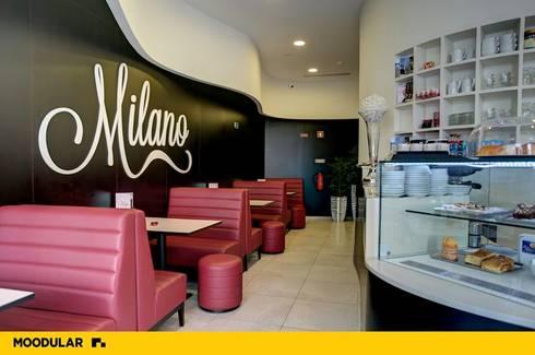 Gelataria Milano, desenhada e produzida pela Moodular: Espaços de restauração  por MOODULAR