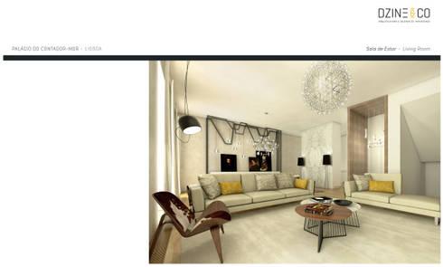 Palácio do Contador Mor : Salas de estar modernas por DZINE & CO, Arquitectura e Design de Interiores