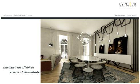 Palácio do Contador Mor : Salas de jantar modernas por DZINE & CO, Arquitectura e Design de Interiores