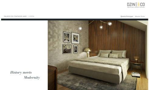 Palácio do Contador Mor : Quartos modernos por DZINE & CO, Arquitectura e Design de Interiores