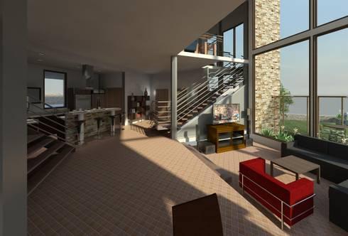 Hall- sala : Salas / recibidores de estilo moderno por Diseño Store