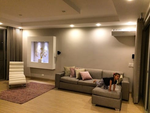 Sala Familiar segundo Piso: Salas multimedia de estilo moderno por ea interiorismo